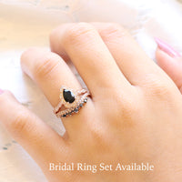 Vintage floral pear engagement ring rose gold and crown black diamond wedding band by la more design jewelry