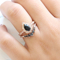 Vintage floral pear engagement ring rose gold and curved black diamond wedding band by la more design jewelry