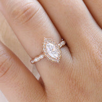 Vintage marquise engagement ring rose gold halo diamond ring by la more design jewelry