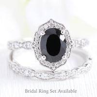 Vintage style black spinel diamond engagement ring white gold bridal set by la more design jewelry