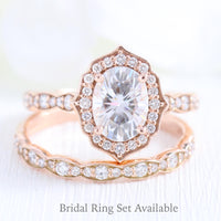 Vintage style moissanite diamond engagement ring rose gold bridal set by la more design jewelry.JPG