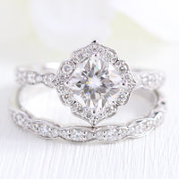 Vintage style moissanite diamond engagement ring white gold bridal set by la more design jewelry