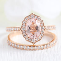 Vintage style morganite diamond engagement ring rose gold bridal set by la more design jewelry