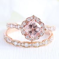 Vintage style peach sapphire diamond engagement ring rose gold bridal set by la more design jewelry