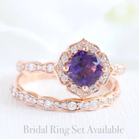 amethyst ring bridal set in rose gold vintage floral diamond band by la more design