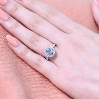cushion aquamarine ring bridal set in white gold vintage inspired diamond band by la more design