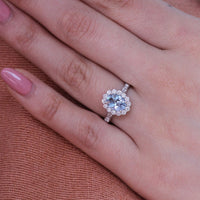 aquamarine engagement ring scalloped halo diamond ring white gold oval cut ring by la more design