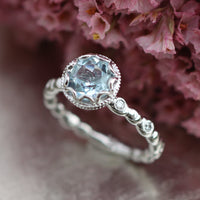 aquamarine engagement ring white gold diamond pebble ring by la more design