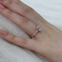 aquamarine oval solitaire engagement ring rose gold diamond scalloped band by la more design