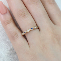 bezel diamond sapphire wedding ring yellow gold by la more design