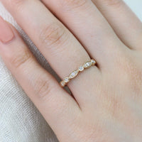 bezel scalloped ring diamond wedding band yellow gold by la more design