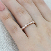 bezel set half eternity band diamond ring rose gold by la more design