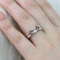 white gold rose gold black and white diamond ring bezel wedding band by la more design