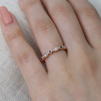 black and white diamond wedding band scalloped ring rose gold by la more design
