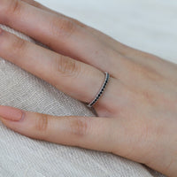 Pave Black Diamond Wedding Ring Half Eternity Band in 14k White Gold, Size 5.75