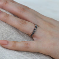 black diamond ring rose gold wedding band by la more design