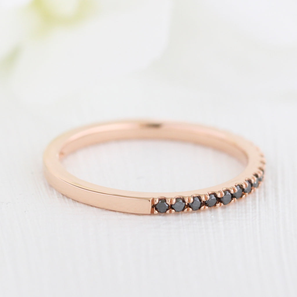 Black Diamond Half Eternity Ring In Rose Gold Pave Band 020 Ct Tw