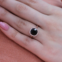 rose gold cushion black spinel halo diamond engagement ring by la more design