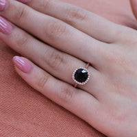Luna Halo Ring w/ Cushion Black Spinel and Diamond
