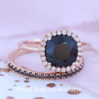 black spinel engagement ring cushion halo diamond ring rose gold by la more design