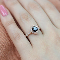 black spinel ring rose gold floral engagement ring scalloped diamond band by la more design