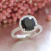 black spinel ring white gold halo diamond engagement ring by la more design
