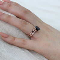 black spinel scalloped ring bridal set rose gold bezel black white diamond band by la more design