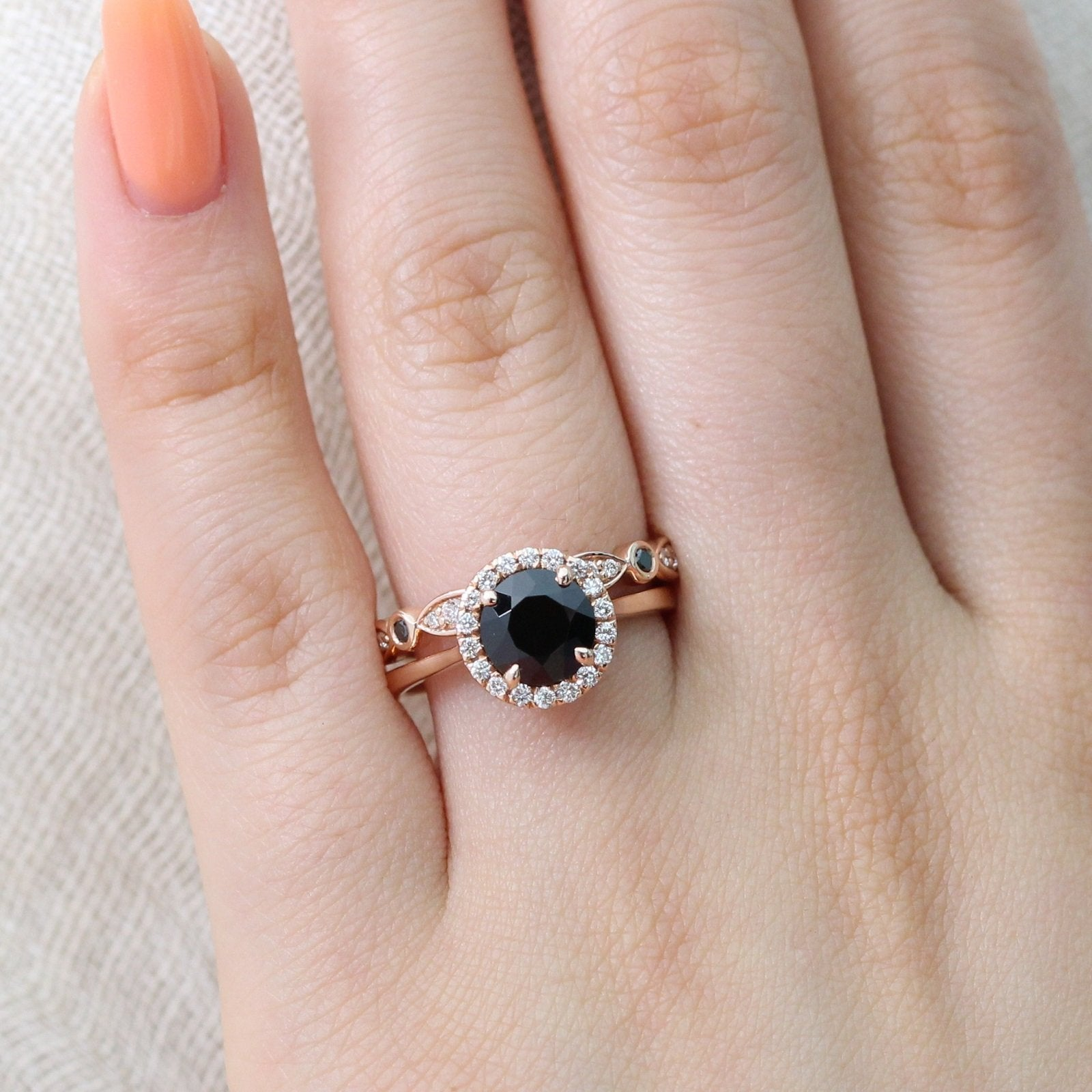 Luna Halo Bridal Set w/ Round Black Spinel and Diamond Bezel Band ...