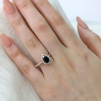 black spinel yellow gold ring pear halo diamond engagement ring by la more design
