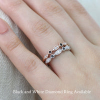 black and white diamond wedding band in rose gold bezel set anniversary ring by la more design jewelry