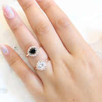 Black diamond ring and moissanite ring in rose gold halo diamond ring by la more design jewelry