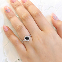 black spinel diamond engagement ring in white gold vintage floral band by la more design jewelry