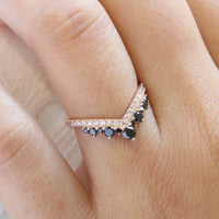 black and white diamond wedding band rose gold curved diamond ring la more design jewelry