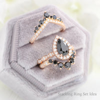 black diamond engagement ring rose gold stacking ring set la more design jewelry