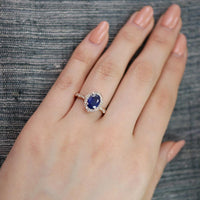 blue sapphire ring vintage floral engagement ring scalloped diamond band rose gold by la more design