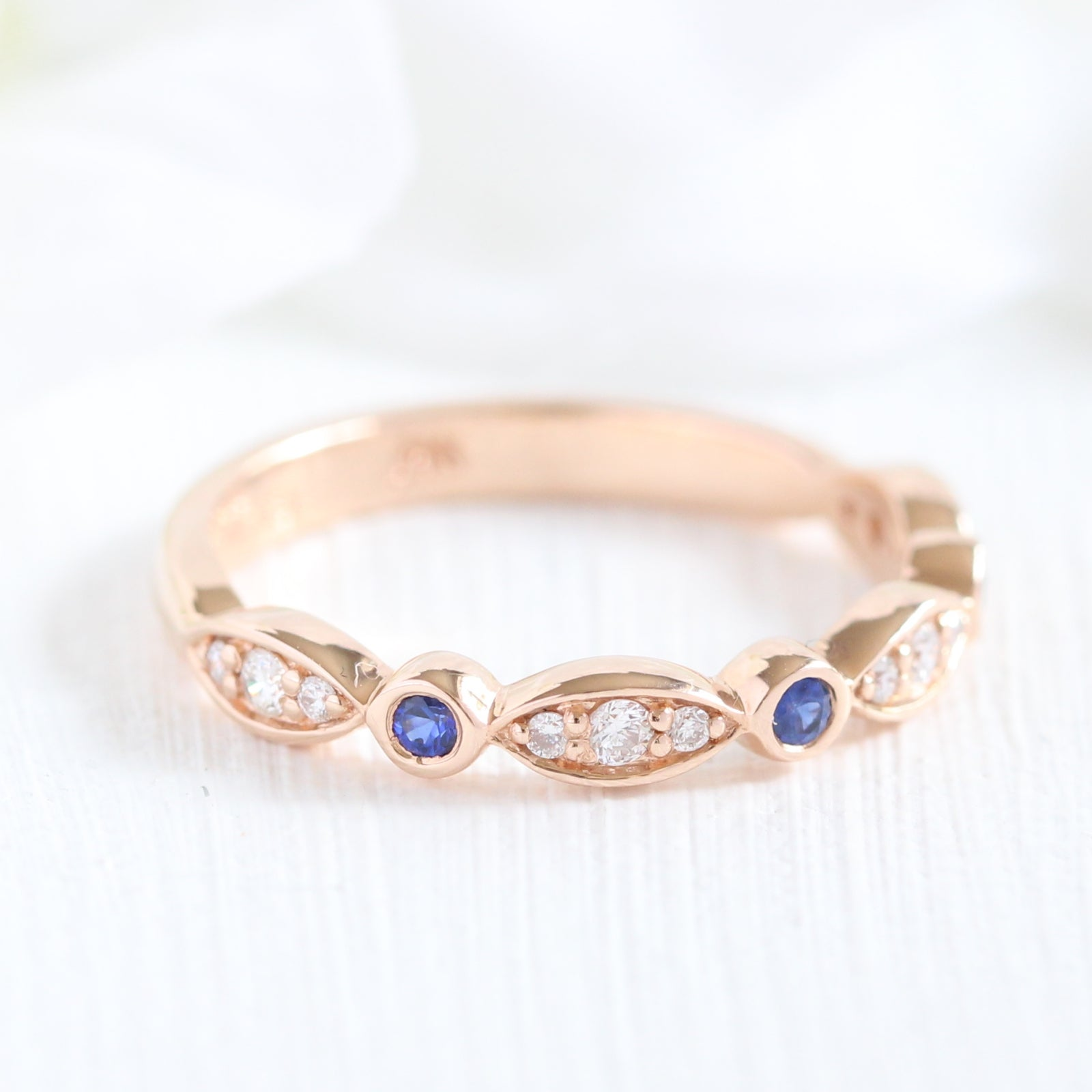 Sapphire Wedding Rings.Sapphire And Diamond Ring In Rose Gold Scalloped Bezel Band