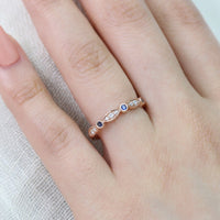 blue sapphire wedding band bezel diamond ring rose gold by la more design