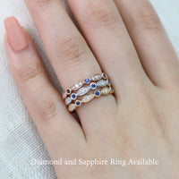blue sapphire wedding band in rose gold bezel diamond ring by la more design jewelry
