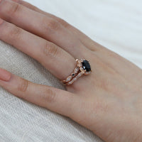 bridal set cushion black spinel ring bezel diamond band rose gold by la more design
