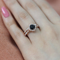 bridal set cushion black spinel ring scalloped diamond band rose gold by la more design