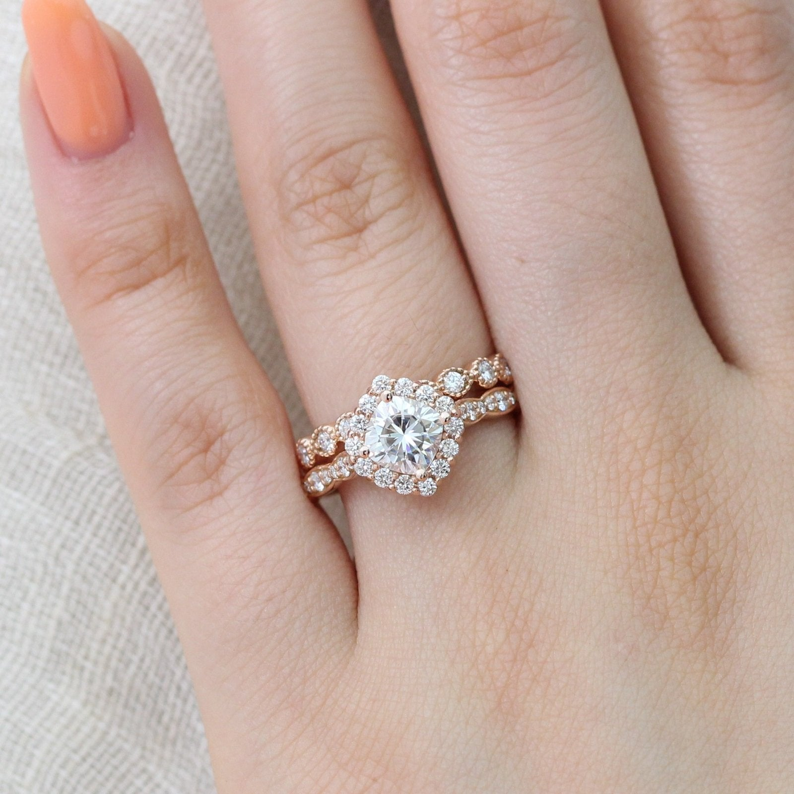 Luna Halo Bridal Set in Scalloped Band w/ Cushion Moissanite and ...