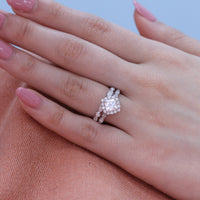halo diamond moissanite ring bridal set in white gold scalloped band by la more design