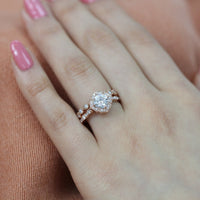 bridal set cushion moissanite ring milgrain diamond band rose gold by la more design