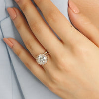 bridal set cushion moissanite ring scalloped diamond band rose gold by la more design