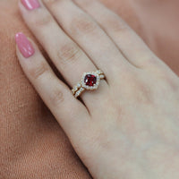 bridal set cushion ruby ring milgrain diamond band yellow gold by la more design