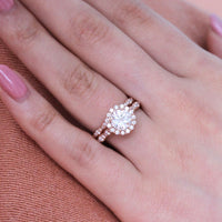 bridal set moissanite engagement ring scalloped diamond wedding band rose gold by la more design