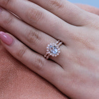 oval aquamarine ring bridal set in rose gold halo diamond ring by la more design