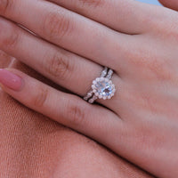oval aquamarine ring bridal set in white gold halo diamond ring by la more design