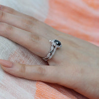 oval black spinel diamond ring bridal set in white gold vintage inspired band by la more design
