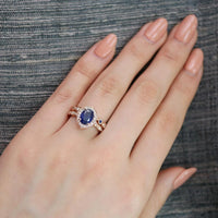 oval blue sapphire ring bridal set in rose gold vintage inspired band by la more design